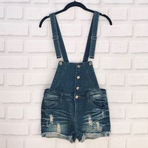 I & M Jeans Distressed Short Overalls